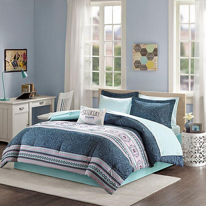 Alternate image 1 for Intelligent Design Gemma 7-Piece Twin Comforter Set in Blue