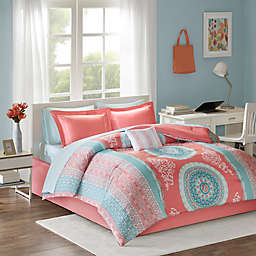 Intelligent Design Loretta 7-Piece Twin Comforter Set in Coral