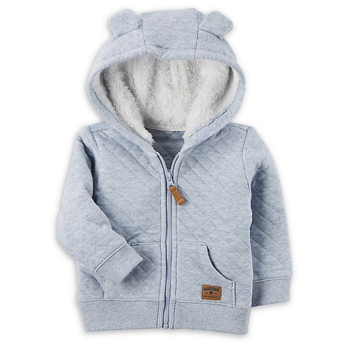 Alternate image 1 for carter's® Sherpa-Lined Quilted Jacket in Light Blue