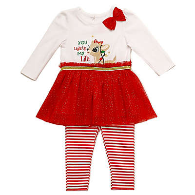 "Clarice 2-Piece ""You Light Up My Life"" Tunic and Stripe Legging Set in Red"