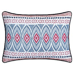 Chic Home Birch Garden Embroidered Oblong Throw Pillow in Navy/White