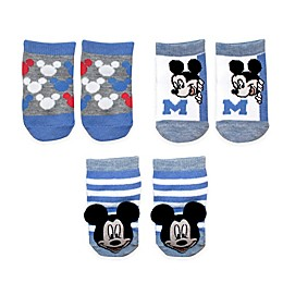 Disney Baby® 3-Pack Mickey Rattle Pom Quarter Socks in White