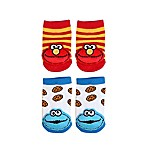 Sesame Street® Size 0-6M 2-Pack Cookie Monster and Elmo Socks in White