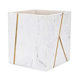 Kassatex Marble Brass Wastebasket in Ivory