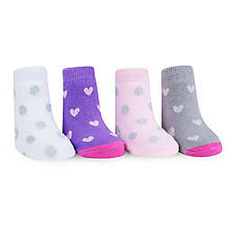 Waddle Size 0-12M 4-Pack Hearts and Dots Feather Socks