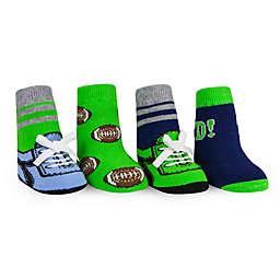 Waddle Size 0-12M 4-Pack Football Flat Knit Socks