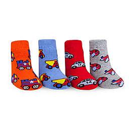Waddle Size 0-12M 4-Pack Transportation Flat Knit Socks