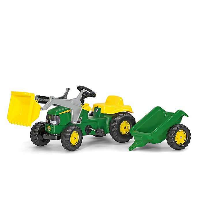 Alternate image 1 for Kettler® John Deere Kid Rid-On Tractor with Trailer in Green/Yellow