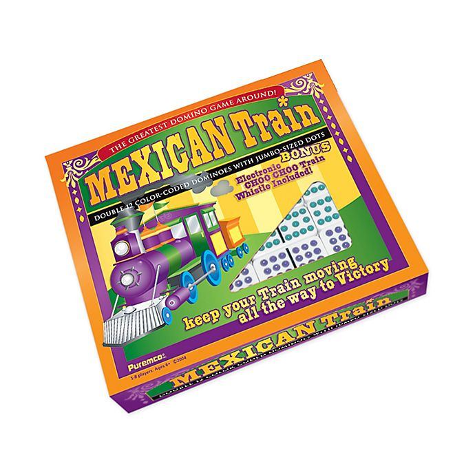 Alternate image 1 for Puremco Professional Size Mexican Train Double 12 Color Dot Domino Set