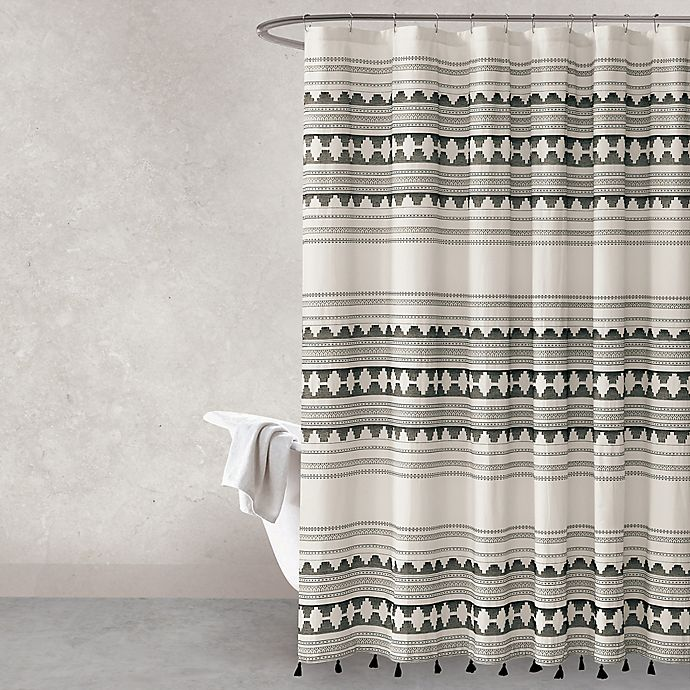 Alternate image 1 for Haus & Haven Pyke Shower Curtain in Ivory/Black