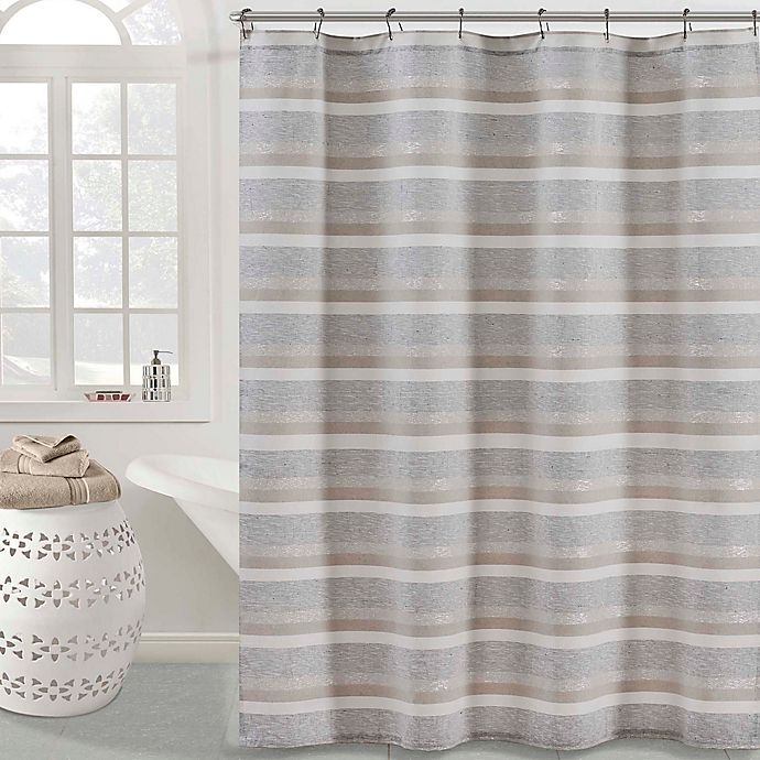 Alternate image 1 for KAS ROOM Zerena Shower Curtain in Silver