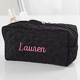 Embroidered Quilted Cosmetic Bag in Black