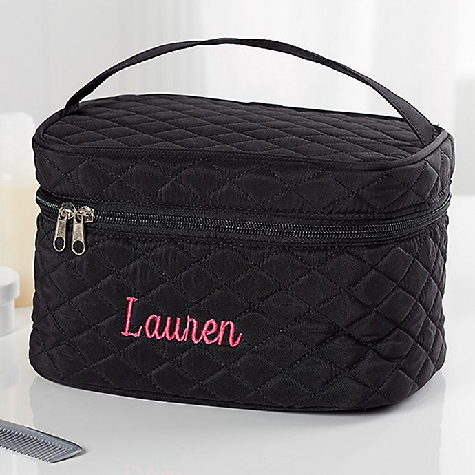 Alternate image 1 for Embroidered Quilted Train Case in Black