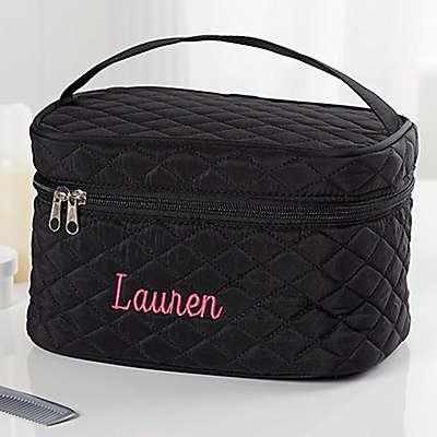 Embroidered Quilted Train Case in Black