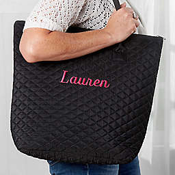 Embroidered Quilted Shoulder Bag in Black
