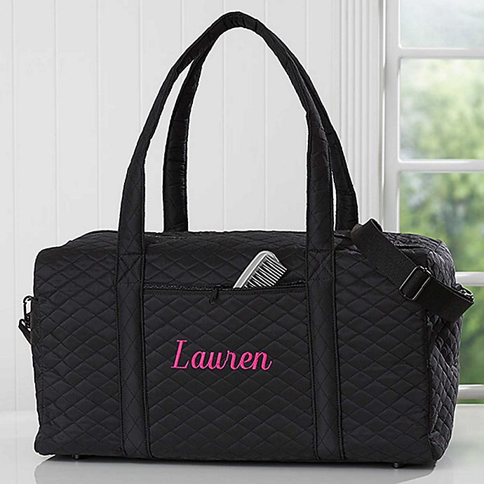 Alternate image 1 for Embroidered Quilted Duffel Bag in Black