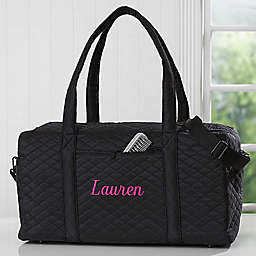 Embroidered Quilted Duffel Bag in Black