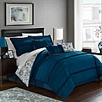 Chic Home Thess 7-Piece Reversible King Comforter Set in Navy