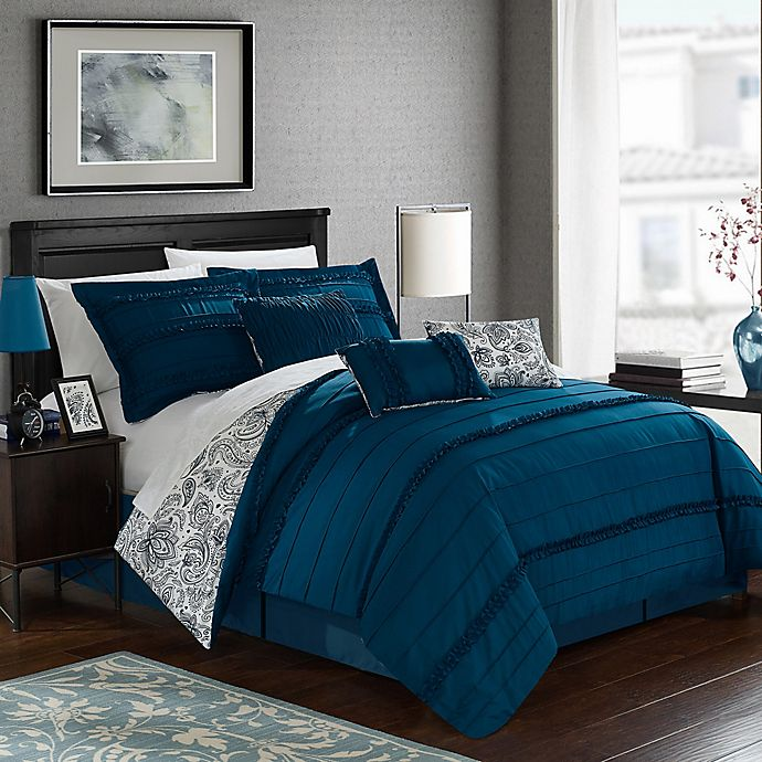 Alternate image 1 for Chic Home Thess 7-Piece Reversible King Comforter Set in Navy