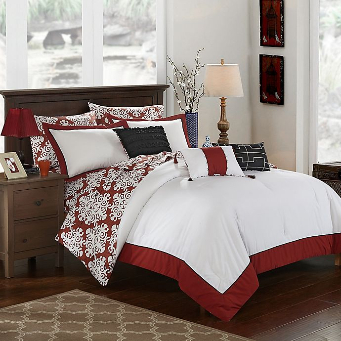 Alternate image 1 for Chic Home Naira 8-Piece Reversible Twin Comforter Set in Marsala