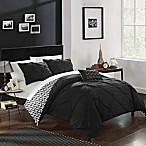 Chic Home Portia 4-Piece Reversible King Comforter Set in Black