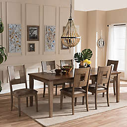 Baxton Studio Gillian 7-Piece Extendable Dining Set in Weathered Grey
