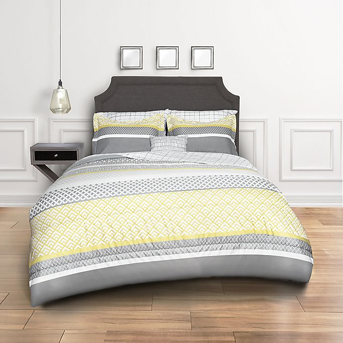 Alternate image 1 for Crescent 8-Piece King Comforter Set in Grey/Yellow