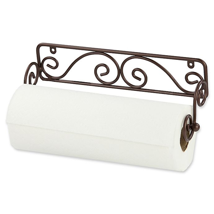 Alternate image 1 for Home Basics® Scroll Wall Mounted Paper Towel Holder in Bronze