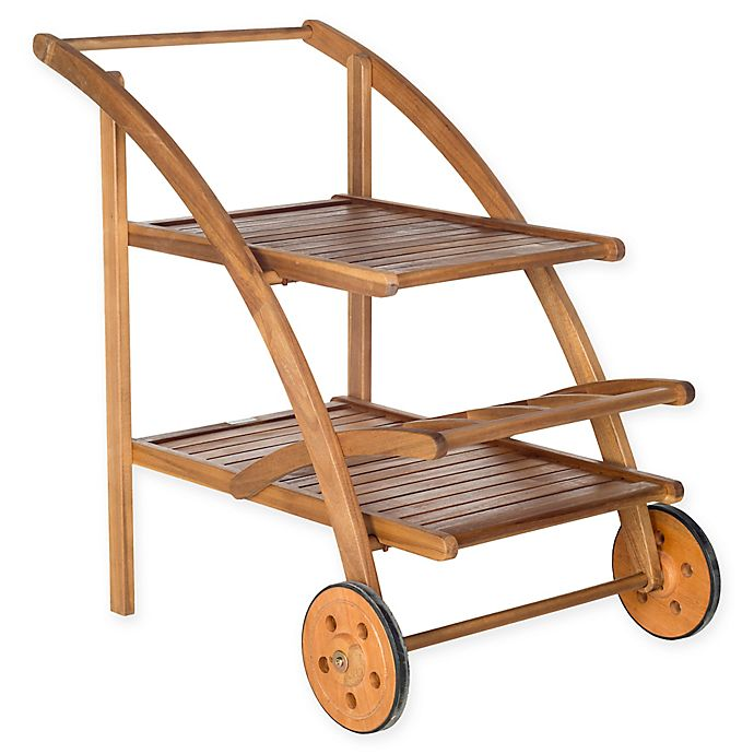 Alternate image 1 for Safavieh Lodi Outdoor Tea Cart in Teak