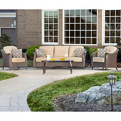 Hanover Gramercy 4-Piece Outdoor Conversation Set in Tan