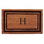 Home & More Monogram Letter  H  24-Inch x 36-Inch Border Door Mat in Brown