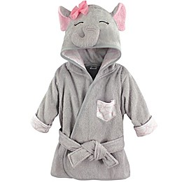 BabyVision® Hudson Baby® Grey/Pink Elephant Bathrobe