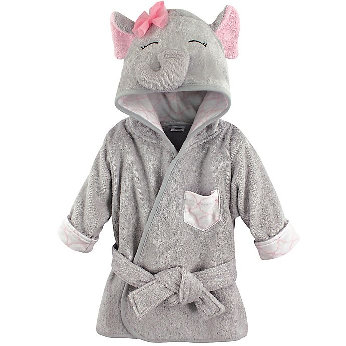 Alternate image 1 for BabyVision® Hudson Baby® Grey/Pink Elephant Bathrobe