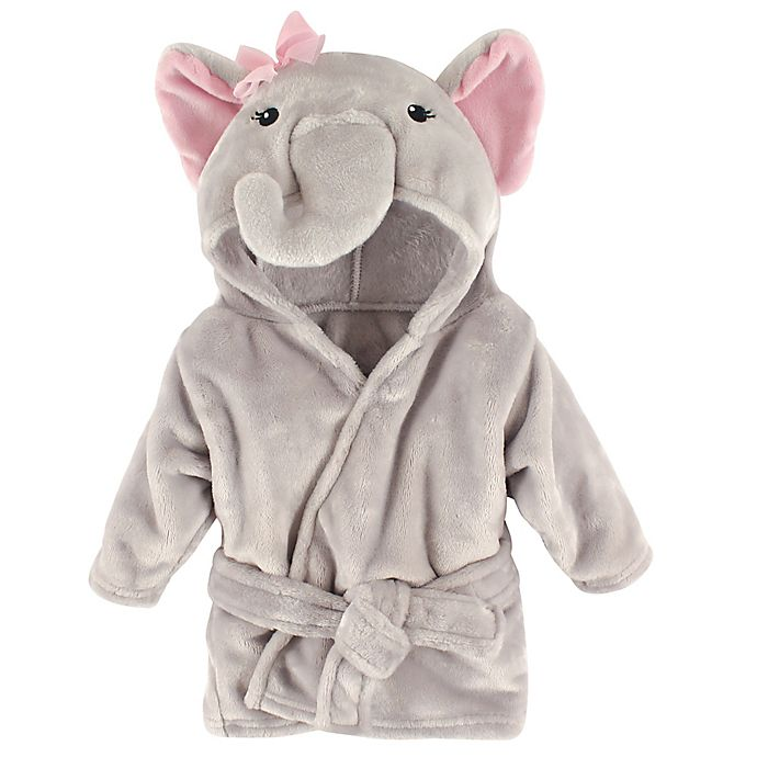 Alternate image 1 for BabyVision® Hudson Baby® Pink Elephant Animal Bathrobe