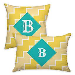 Zigzag Indoor/Outdoor Pillow in Teal/Yellow