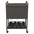 Barrington Outdoor Wicker Cooler Cart in Slate
