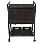 Barrington Outdoor Wicker Cooler Cart in Brown