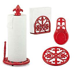 Home Basics® Fleur de Lis Kitchen Collection in Red