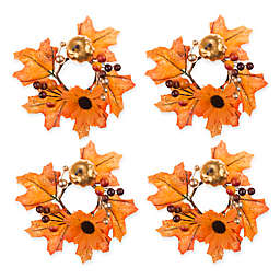 Glitzy Pumpkin Napkin Rings (Set of 4)