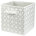 Home Basics® Quatrefoil Patterned Storage Bin in Metallic Silver