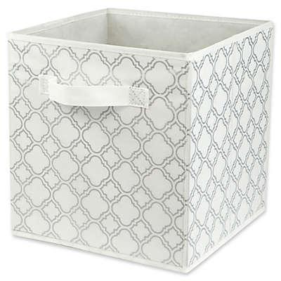 Home Basics® Quatrefoil Patterned Storage Bin in Metallic Silver