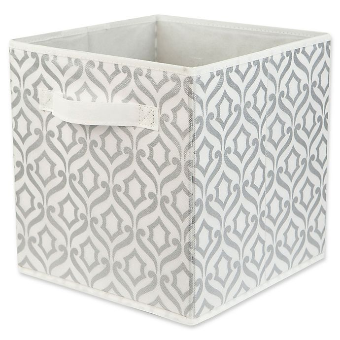 Alternate image 1 for Relaxed Living 11-Inch Fabric Storage Bin in Metallic Silver