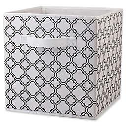 Home Basics® Quatrefoil Patterned Storage Bin in Black/White