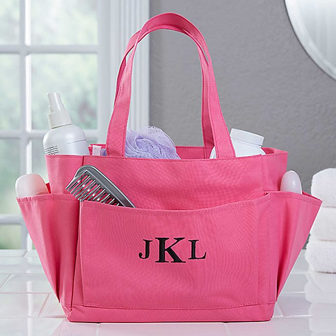 Alternate image 1 for Pink Perfection Embroidered Initials Shower Caddy