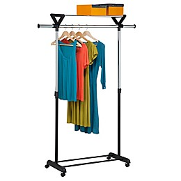 Honey-Can-Do® Top Shelf Garment Rack in Grey/Black