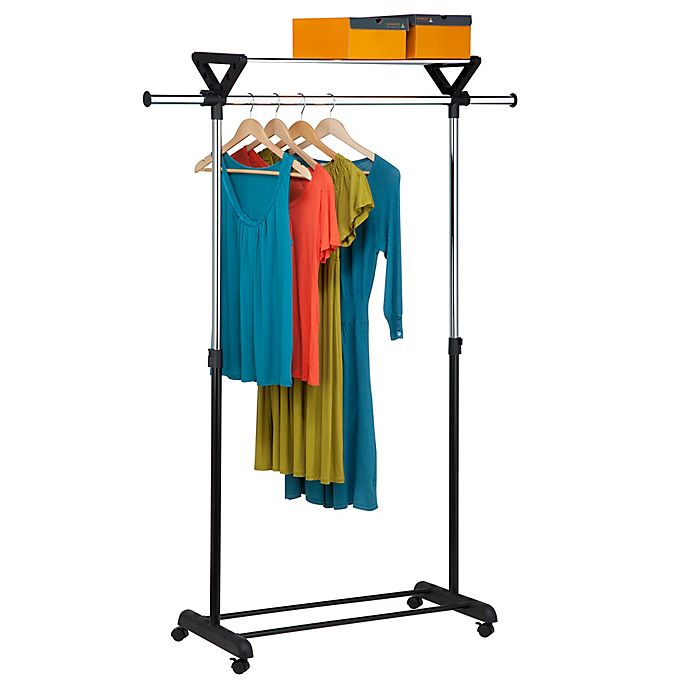 Alternate image 1 for Honey-Can-Do® Top Shelf Garment Rack in Grey/Black