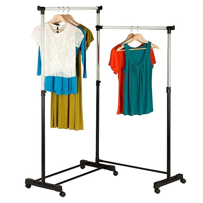 Alternate image 1 for Honey-Can-Do® Rotatable Double Garment Rack in Chrome/Black