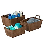 Honey-Can-Do 3-Piece Paper Rope Baskets in Brown