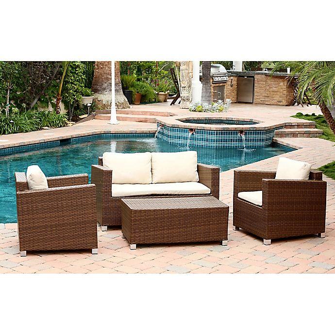 Alternate image 1 for Abbyson Living® Hampton 4-Piece Outdoor Wicker Sofa Set in Brown