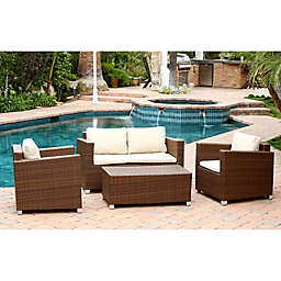 Abbyson Living® Hampton 4-Piece Outdoor Wicker Sofa Set in Brown